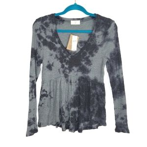 NWT Anthro Tie Dye Top Gray Babydoll Peplum Top S